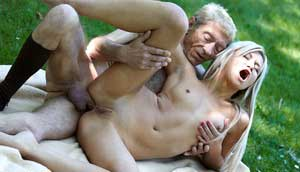 Skinny Blonde Teen Gets Screwed Up In Her Tight Asshole By Old Fellow