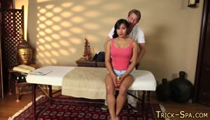 Asian babe gets spunked on massage
