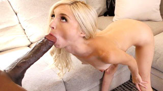 Small Tight Blonde Takes A Big Black Cock In Mouth