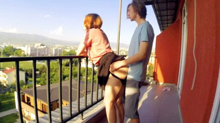 Horny Teen Girlfriend Loves Doggy Style Fuck On The Balcony