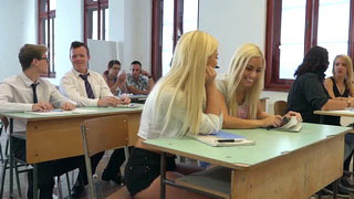 These College Blondies Are Ready To Taste Professor's Cock In Classroom